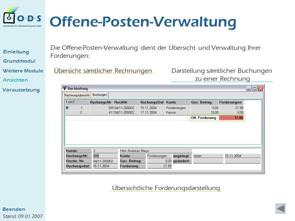 Grundmodul Weitere Module Ansichten Offene-Posten-Verwaltung Die Offene-Posten-Verwaltung dient der Übersicht und Verwaltung Ihrer Forderungen: Einlei