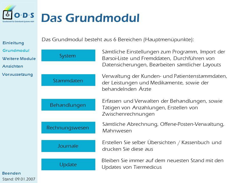 Grundmodul Das Grundmodul Das Grundmodul besteht aus 6 Bereichen (Hauptmenüpunkte): System Stammdaten Behandlungen Rechnungswesen Journale Update Sämt