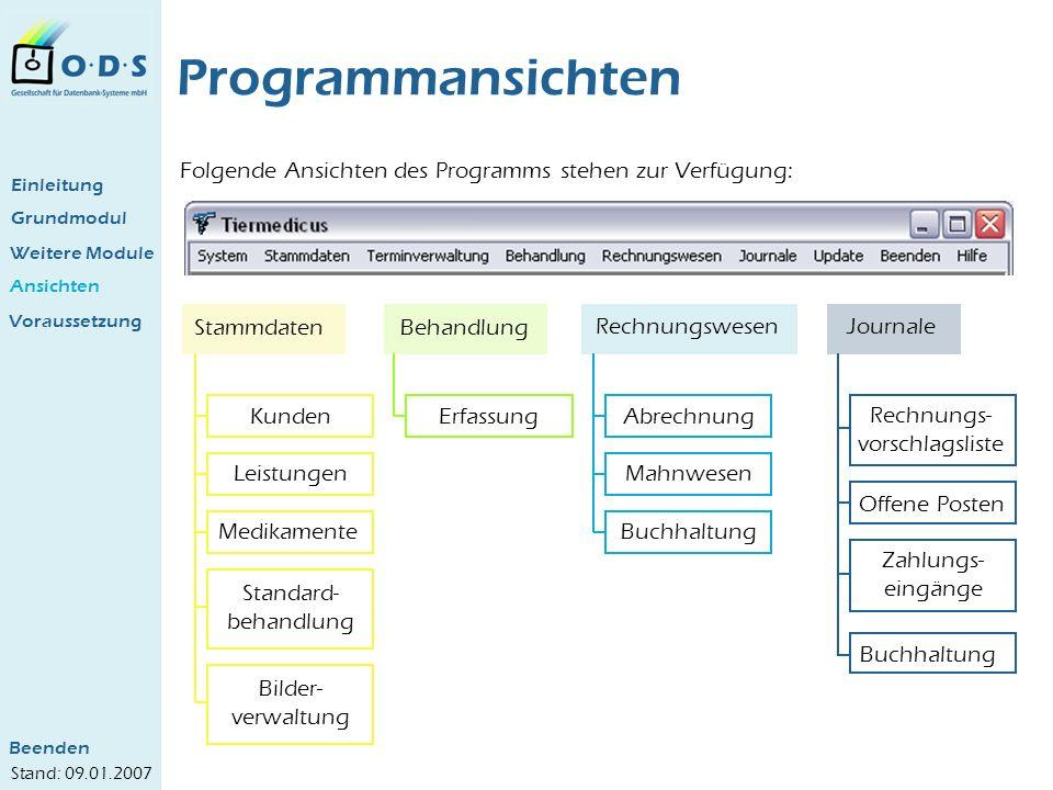 Grundmodul Weitere Module Ansichten Programmansichten Folgende Ansichten des Programms stehen zur Verfügung: StammdatenBehandlung RechnungswesenJourna