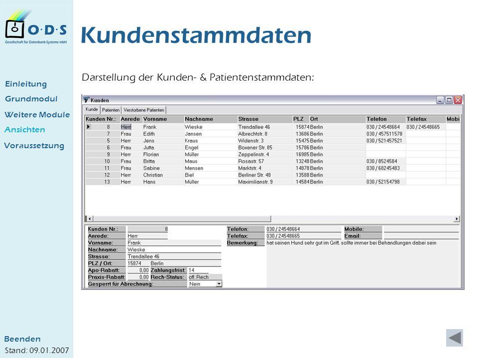 Grundmodul Weitere Module Ansichten Kundenstammdaten Darstellung der Kunden- & Patientenstammdaten: Einleitung Voraussetzung Beenden Stand: 09.01.2007