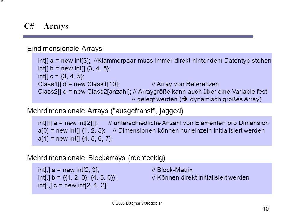 Eindimensionale Arrays int[] a = new int[3]; //Klammerpaar muss immer direkt hinter dem Datentyp stehen int[] b = new int[] {3, 4, 5}; int[] c = {3, 4