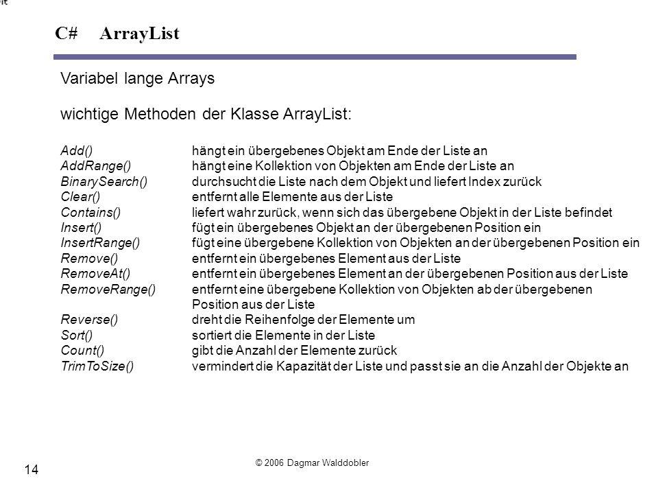 Variabel lange Arrays wichtige Methoden der Klasse ArrayList: Add() hängt ein übergebenes Objekt am Ende der Liste an AddRange()hängt eine Kollektion
