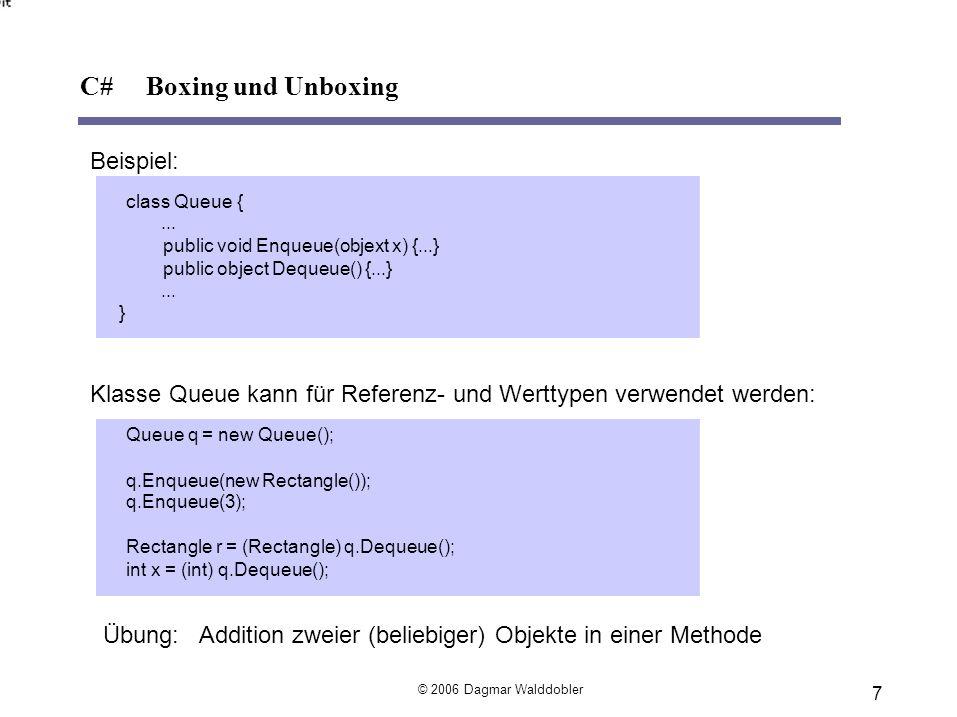 Aufzählungstypen aus definierten Konstanten Deklaration (auf Namespace-Ebene) enumColor {red, blue, green}// Werte: 0, 1, 2 enumAccess {personal=1, group=2, all=4} enumAccess1 :byte{personal=1, group=2, all=4} Verwendung Color x = Color.blue;// enum-Konstanten müssen qualifiziert werden enum Aktion {Loeschen, Einfuegen, Aendern}; void Ausgabe(Aktion modus} { switch (modus) { case Aktion.Loeschen: ; break case Aktion.Einfuegen: ; break } C# Enumerationen © 2006 Dagmar Walddobler 8