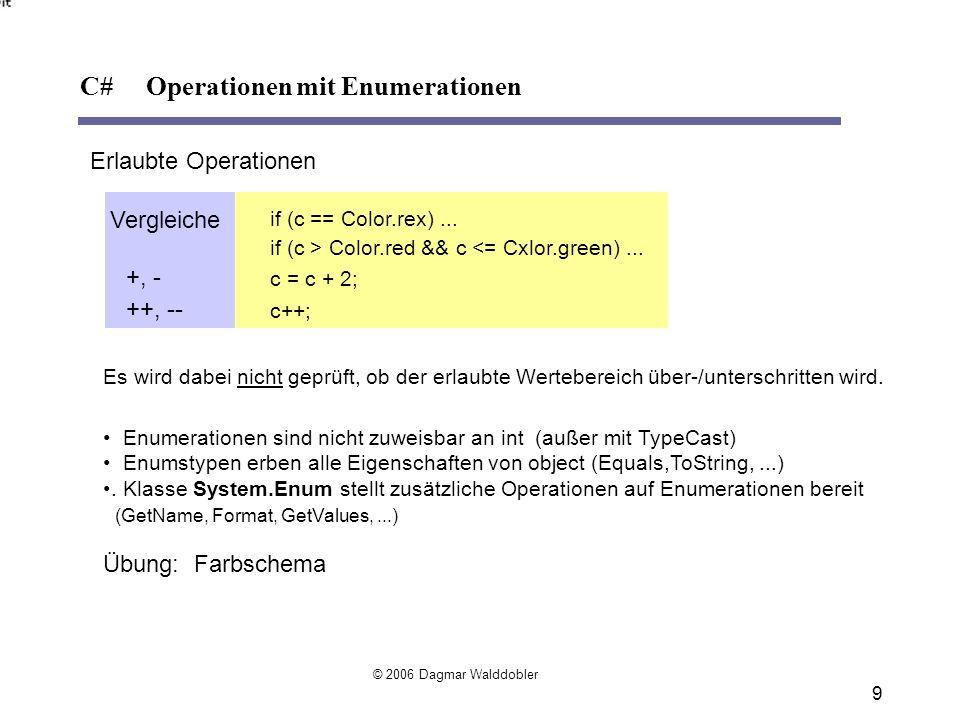Eindimensionale Arrays int[] a = new int[3]; //Klammerpaar muss immer direkt hinter dem Datentyp stehen int[] b = new int[] {3, 4, 5}; int[] c = {3, 4, 5}; Class1[] d = new Class1[10];// Array von Referenzen Class2[] e = new Class2[anzahl]; // Arraygröße kann auch über eine Variable fest- // gelegt werden ( dynamisch großes Array) Mehrdimensionale Arrays ( ausgefranst , jagged) int[][] a = new int[2][]; // unterschiedliche Anzahl von Elementen pro Dimension a[0] = new int[] {1, 2, 3}; // Dimensionen können nur einzeln initialisiert werden a[1] = new int[] {4, 5, 6, 7}; Mehrdimensionale Blockarrays (rechteckig) int[,] a = new int[2, 3];// Block-Matrix int[,] b = {{1, 2, 3}, {4, 5, 6}};// Können direkt initialisiert werden int[,,] c = new int[2, 4, 2]; C# Arrays © 2006 Dagmar Walddobler 10
