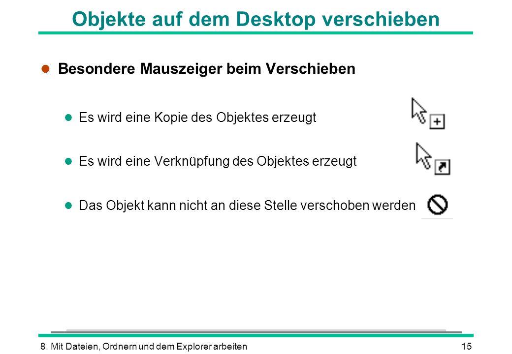 8. Mit Dateien, Ordnern und dem Explorer arbeiten15 Objekte auf dem Desktop verschieben l Besondere Mauszeiger beim Verschieben l Es wird eine Kopie d