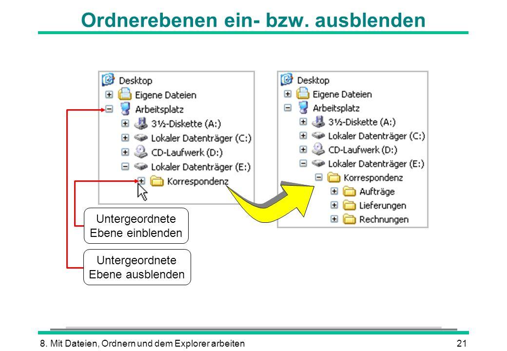8. Mit Dateien, Ordnern und dem Explorer arbeiten21 Ordnerebenen ein- bzw. ausblenden Untergeordnete Ebene ausblenden Untergeordnete Ebene einblenden