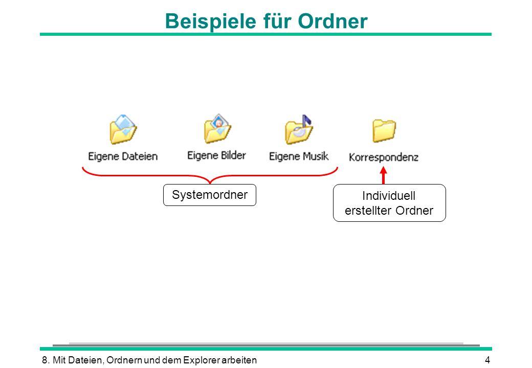 8. Mit Dateien, Ordnern und dem Explorer arbeiten4 Beispiele für Ordner Systemordner Individuell erstellter Ordner