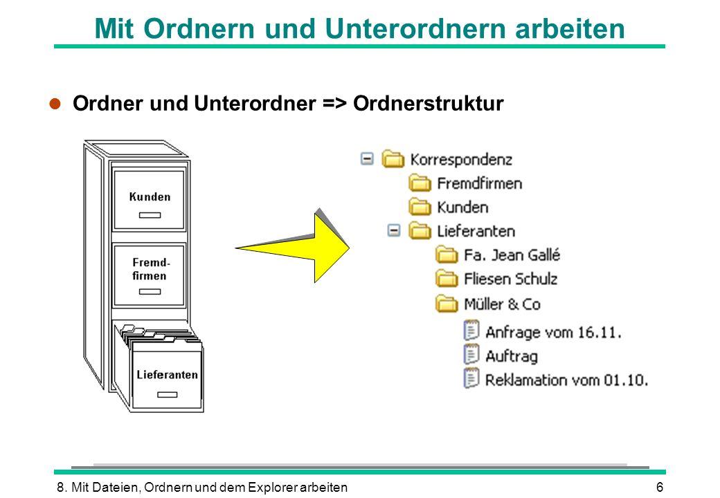 8. Mit Dateien, Ordnern und dem Explorer arbeiten6 Mit Ordnern und Unterordnern arbeiten l Ordner und Unterordner => Ordnerstruktur