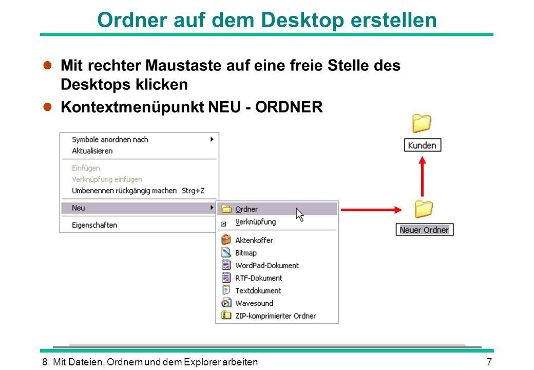 8. Mit Dateien, Ordnern und dem Explorer arbeiten7 Ordner auf dem Desktop erstellen l Mit rechter Maustaste auf eine freie Stelle des Desktops klicken