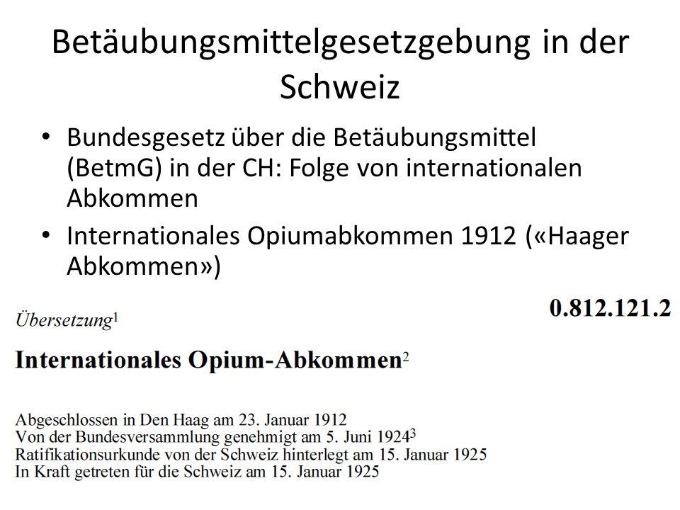 Betäubungsmittelgesetzgebung in der Schweiz Bundesgesetz über die Betäubungsmittel (BetmG) in der CH: Folge von internationalen Abkommen International