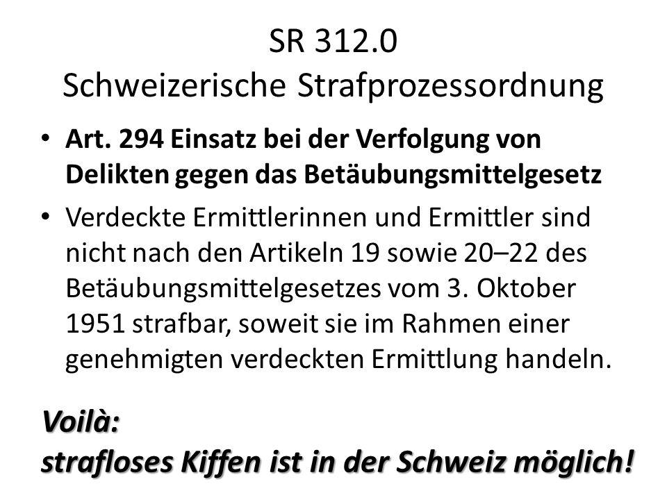 SR 312.0 Schweizerische Strafprozessordnung Art. 294 Einsatz bei der Verfolgung von Delikten gegen das Betäubungsmittelgesetz Verdeckte Ermittlerinnen