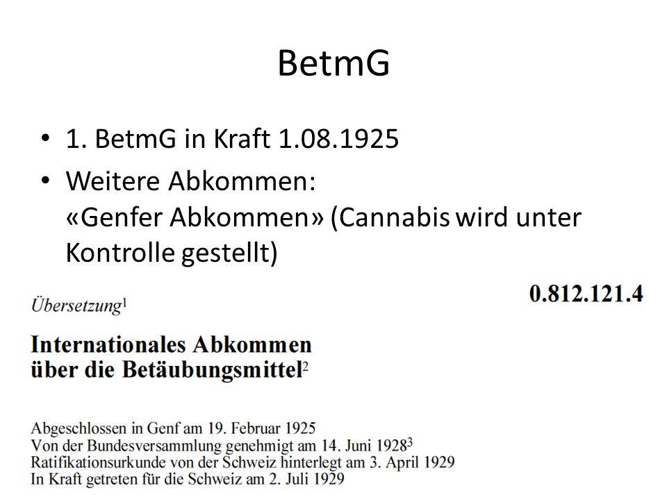 BetmG 1. BetmG in Kraft 1.08.1925 Weitere Abkommen: «Genfer Abkommen» (Cannabis wird unter Kontrolle gestellt)