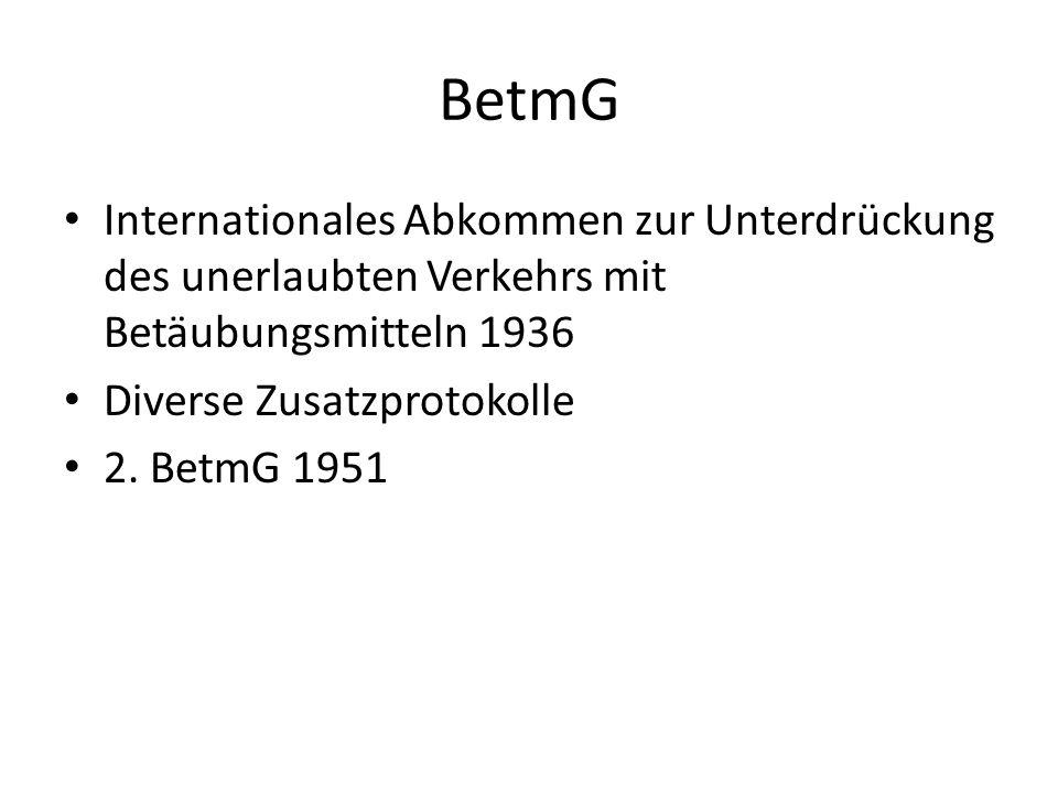 BetmG Internationales Abkommen zur Unterdrückung des unerlaubten Verkehrs mit Betäubungsmitteln 1936 Diverse Zusatzprotokolle 2. BetmG 1951