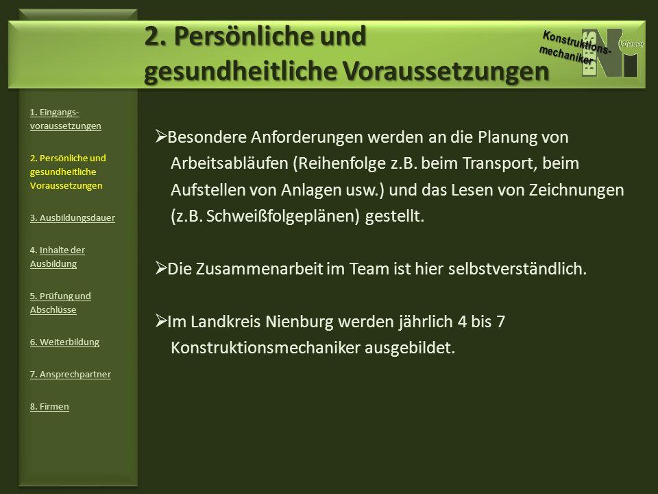 3.Ausbildungsdauer 1. Eingangs- voraussetzungen 2.