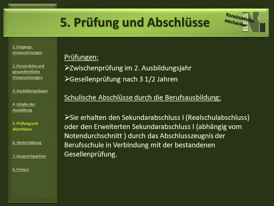 6.Weiterbildung 1. Eingangs- voraussetzungen 2. Persönliche und gesundheitliche Voraussetzungen 3.
