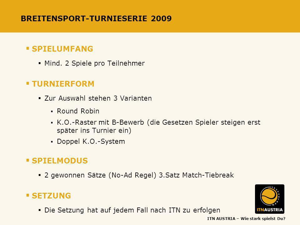 ITN AUSTRIA – Wie stark spielst Du? BREITENSPORT-TURNIESERIE 2009 SPIELUMFANG Mind. 2 Spiele pro Teilnehmer TURNIERFORM Zur Auswahl stehen 3 Varianten