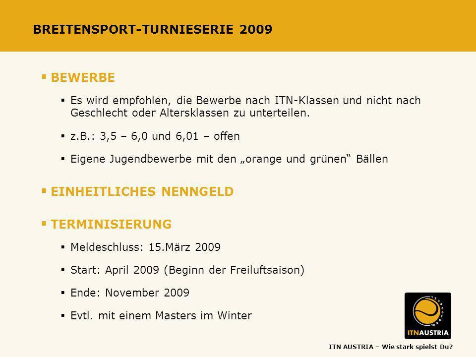 ITN AUSTRIA – Wie stark spielst Du? BREITENSPORT-TURNIESERIE 2009 BEWERBE Es wird empfohlen, die Bewerbe nach ITN-Klassen und nicht nach Geschlecht od