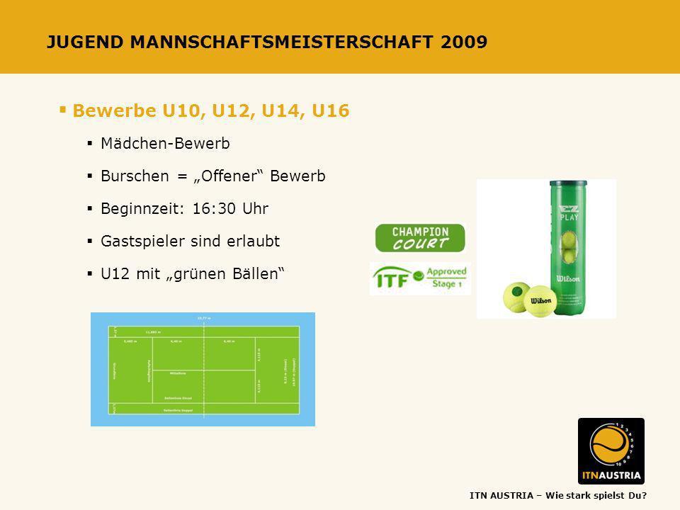 ITN AUSTRIA – Wie stark spielst Du? JUGEND MANNSCHAFTSMEISTERSCHAFT 2009 Bewerbe U10, U12, U14, U16 Mädchen-Bewerb Burschen = Offener Bewerb Beginnzei