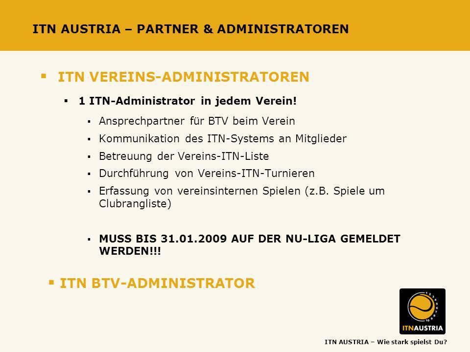 ITN AUSTRIA – Wie stark spielst Du? ITN AUSTRIA – PARTNER & ADMINISTRATOREN ITN VEREINS-ADMINISTRATOREN 1 ITN-Administrator in jedem Verein! Ansprechp