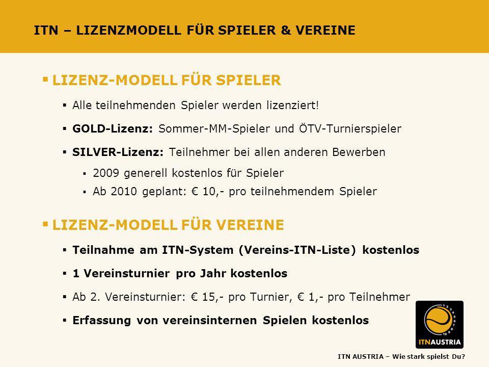 ITN AUSTRIA – Wie stark spielst Du? ITN – LIZENZMODELL FÜR SPIELER & VEREINE LIZENZ-MODELL FÜR SPIELER Alle teilnehmenden Spieler werden lizenziert! G