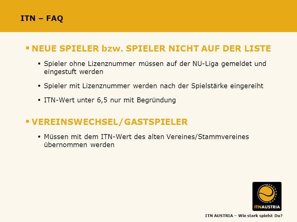 ITN AUSTRIA – Wie stark spielst Du? ITN – FAQ NEUE SPIELER bzw. SPIELER NICHT AUF DER LISTE Spieler ohne Lizenznummer müssen auf der NU-Liga gemeldet