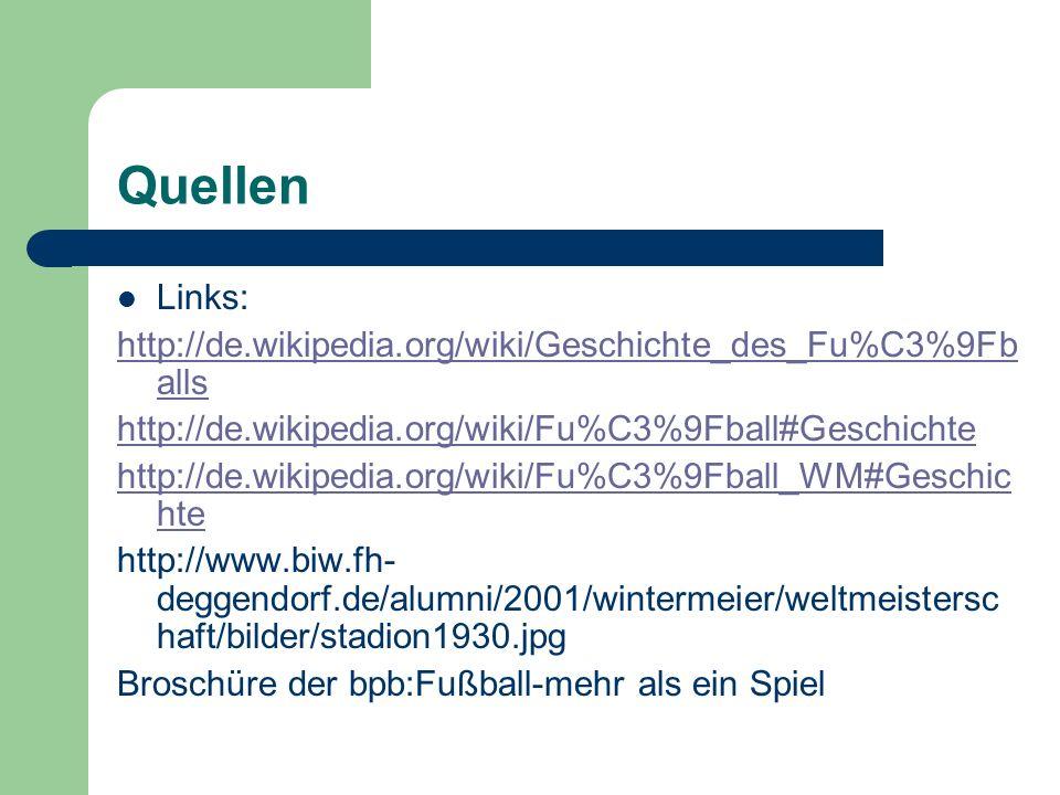 Quellen Links: http://de.wikipedia.org/wiki/Geschichte_des_Fu%C3%9Fb alls http://de.wikipedia.org/wiki/Fu%C3%9Fball#Geschichte http://de.wikipedia.org