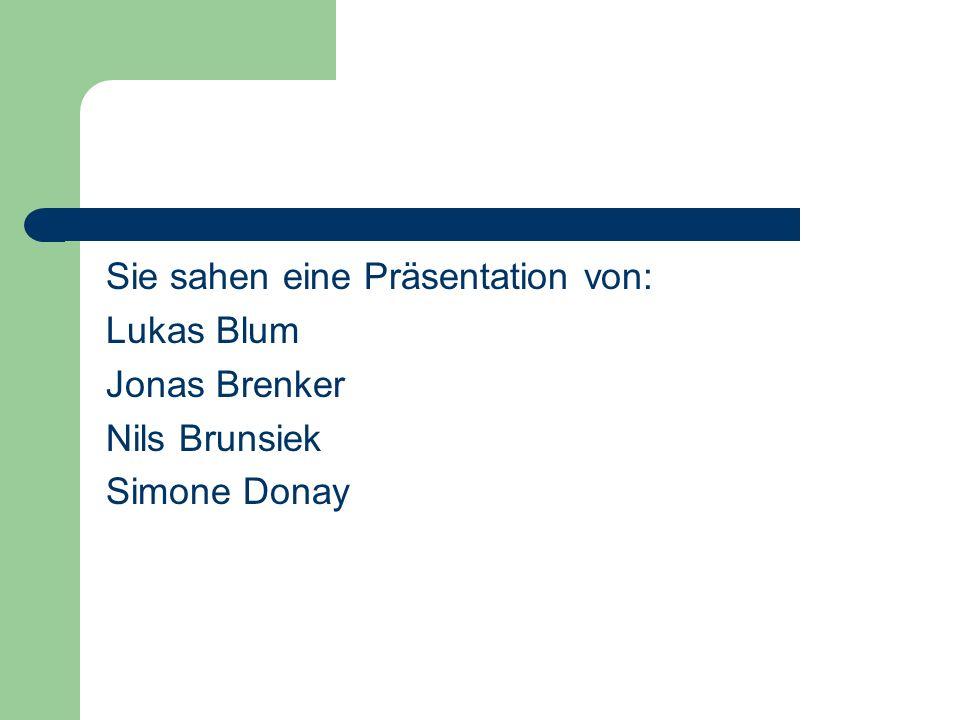Sie sahen eine Präsentation von: Lukas Blum Jonas Brenker Nils Brunsiek Simone Donay