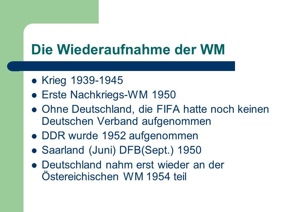 Die Wiederaufnahme der WM Krieg 1939-1945 Erste Nachkriegs-WM 1950 Ohne Deutschland, die FIFA hatte noch keinen Deutschen Verband aufgenommen DDR wurd