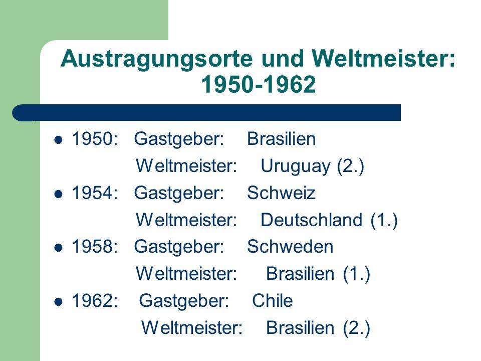 Austragungsorte und Weltmeister: 1950-1962 1950: Gastgeber: Brasilien Weltmeister: Uruguay (2.) 1954: Gastgeber: Schweiz Weltmeister: Deutschland (1.)