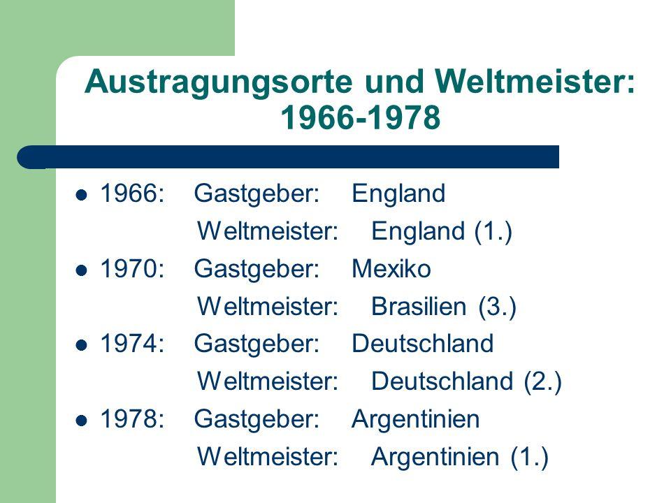 Austragungsorte und Weltmeister: 1966-1978 1966: Gastgeber: England Weltmeister: England (1.) 1970: Gastgeber: Mexiko Weltmeister: Brasilien (3.) 1974