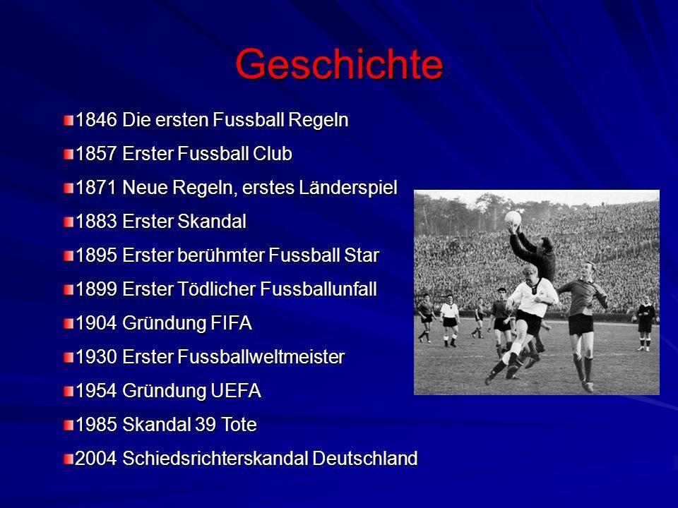 Geschichte 1846 Die ersten Fussball Regeln 1857 Erster Fussball Club 1871 Neue Regeln, erstes Länderspiel 1883 Erster Skandal 1895 Erster berühmter Fu