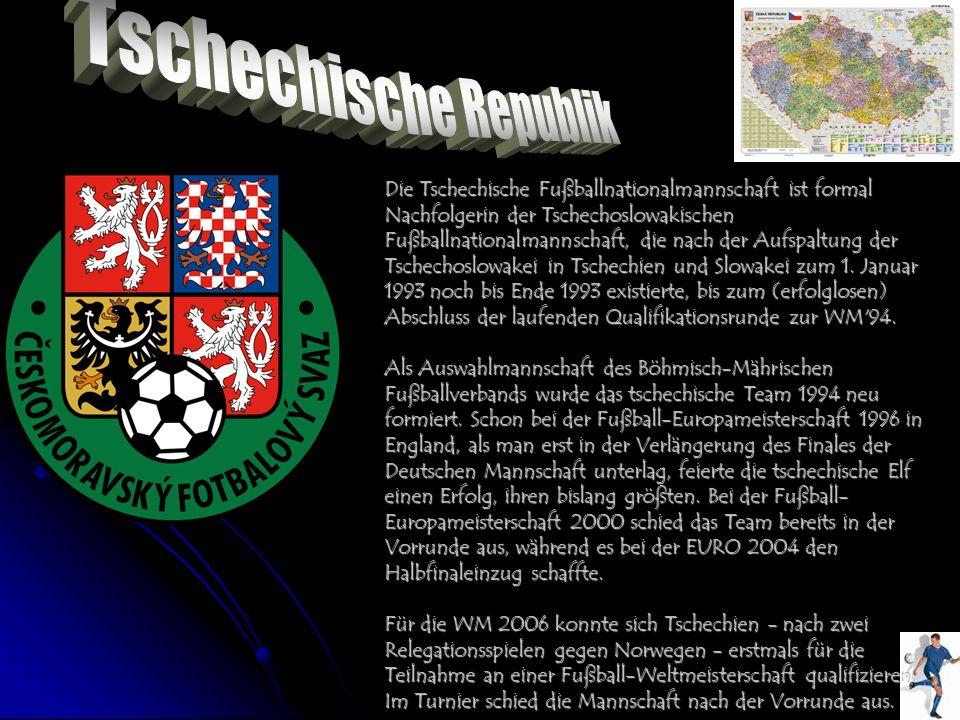 Die Tschechische Fußballnationalmannschaft ist formal Nachfolgerin der Tschechoslowakischen Fußballnationalmannschaft, die nach der Aufspaltung der Ts