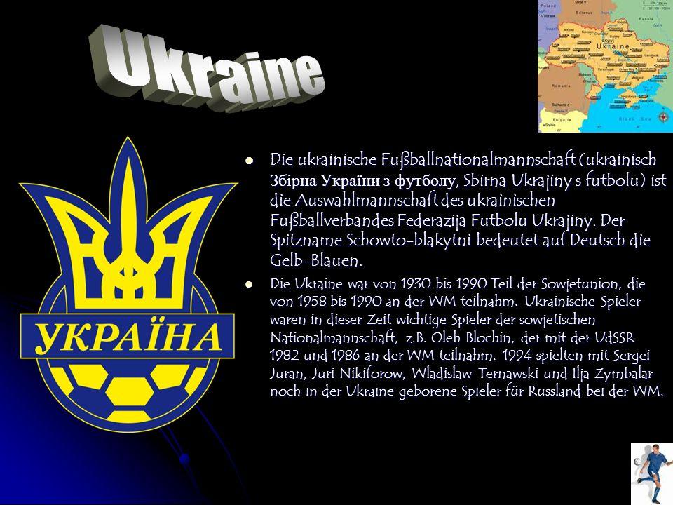 Die ukrainische Fußballnationalmannschaft (ukrainisch Збірна України з футболу, Sbirna Ukrajiny s futbolu) ist die Auswahlmannschaft des ukrainischen
