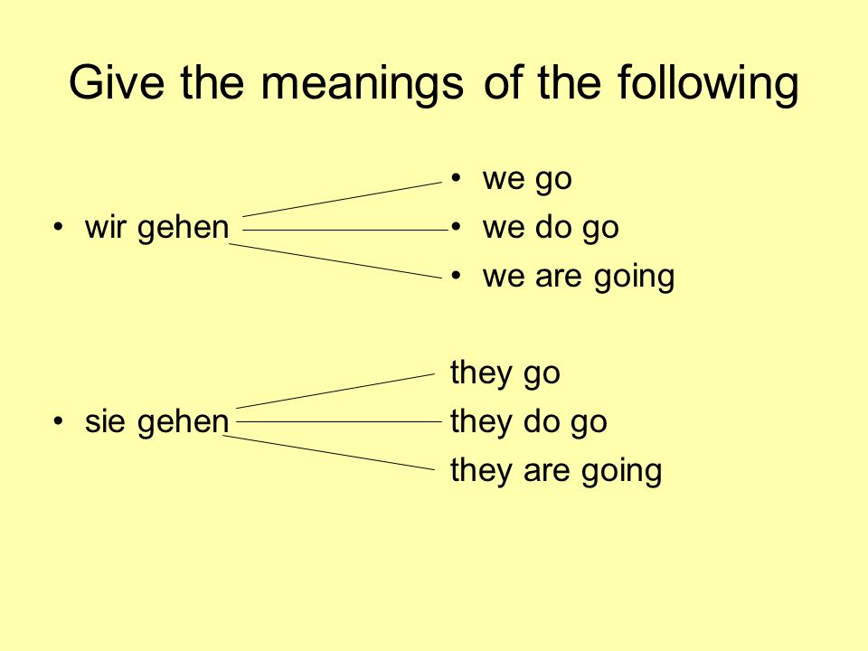 Give the meanings of the following wir gehen sie gehen we go we do go we are going they go they do go they are going
