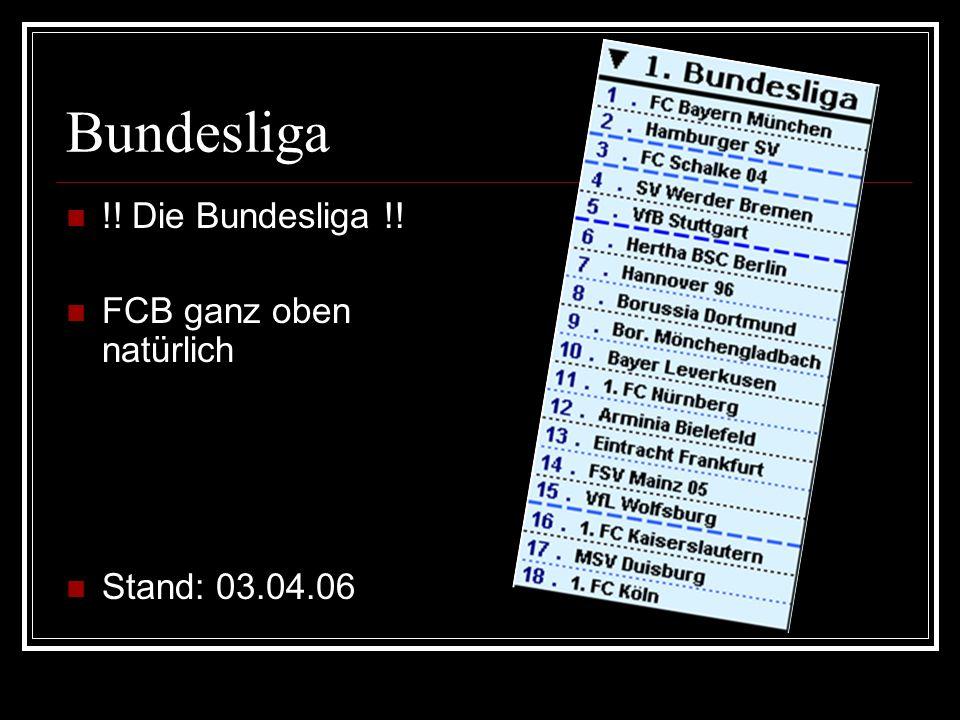 Bundesliga !! Die Bundesliga !! FCB ganz oben natürlich Stand: 03.04.06