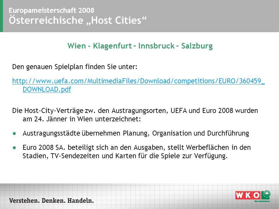 Europameisterschaft 2008 Österreichische Host Cities Wien - Klagenfurt – Innsbruck – Salzburg Den genauen Spielplan finden Sie unter: http://www.uefa.com/MultimediaFiles/Download/competitions/EURO/360459_ DOWNLOAD.pdf Die Host-City-Verträge zw.
