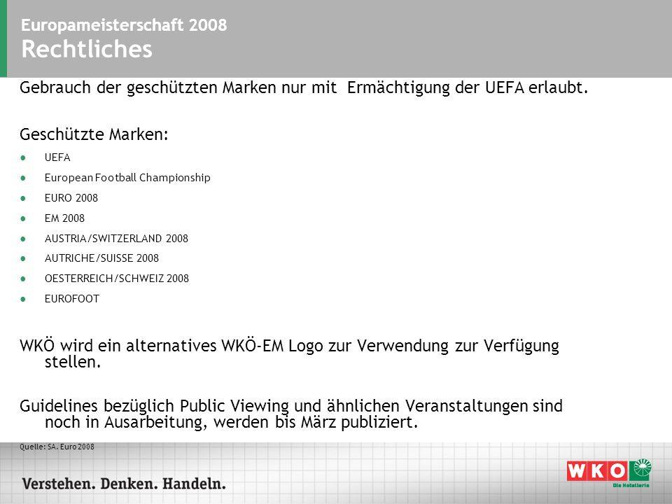Europameisterschaft 2008 Rechtliches Gebrauch der geschützten Marken nur mit Ermächtigung der UEFA erlaubt.