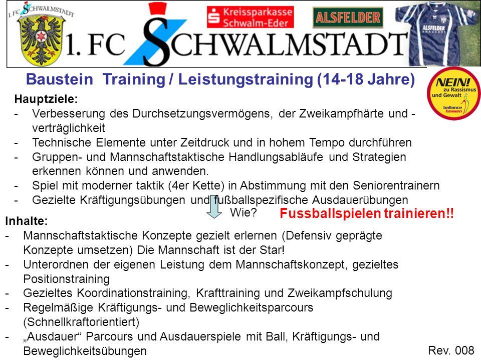 Rev. 008 Wie? Fussballspielen trainieren!! Hauptziele: -Verbesserung des Durchsetzungsvermögens, der Zweikampfhärte und - verträglichkeit -Technische