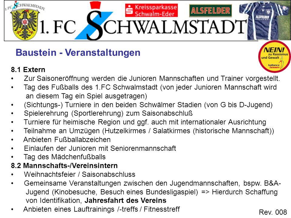Rev. 008 Baustein - Veranstaltungen 8.1 Extern Zur Saisoneröffnung werden die Junioren Mannschaften und Trainer vorgestellt. Tag des Fußballs des 1.FC