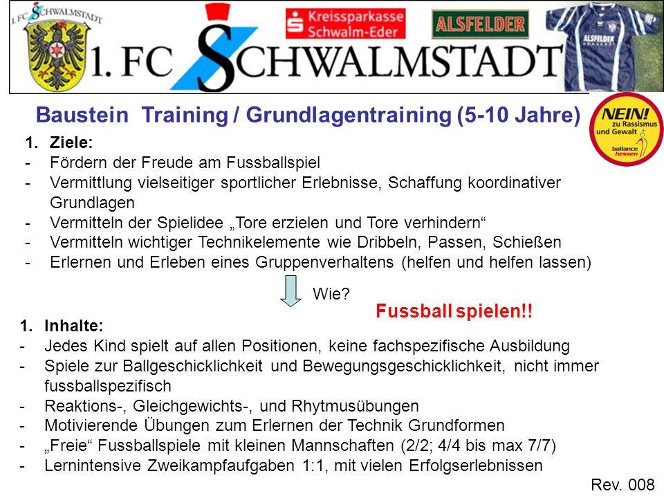 Rev. 008 Baustein Training / Grundlagentraining (5-10 Jahre) 1.Ziele: -Fördern der Freude am Fussballspiel -Vermittlung vielseitiger sportlicher Erleb
