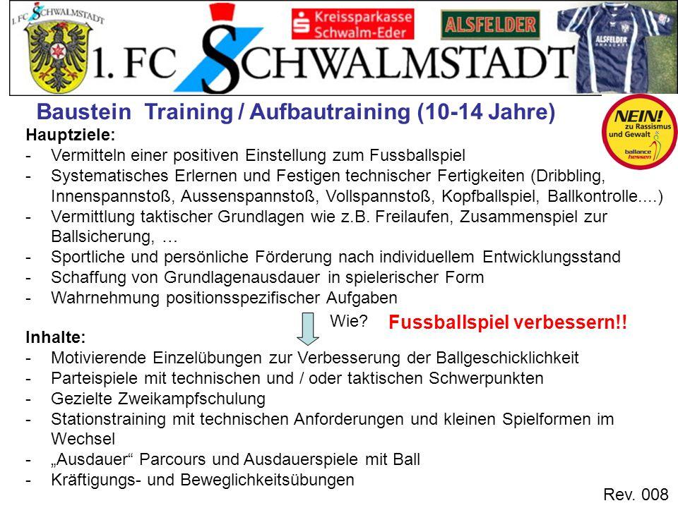 Rev. 008 Hauptziele: -Vermitteln einer positiven Einstellung zum Fussballspiel -Systematisches Erlernen und Festigen technischer Fertigkeiten (Dribbli