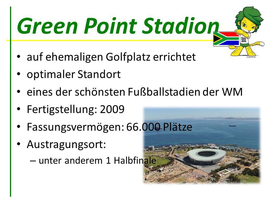 Green Point Stadion auf ehemaligen Golfplatz errichtet optimaler Standort eines der schönsten Fußballstadien der WM Fertigstellung: 2009 Fassungsvermö