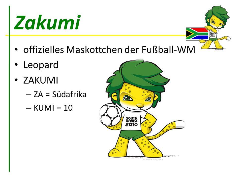 Zakumi offizielles Maskottchen der Fußball-WM Leopard ZAKUMI – ZA = Südafrika – KUMI = 10