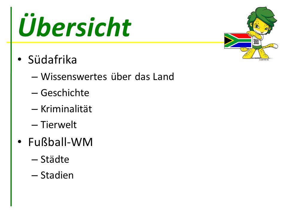 Übersicht Südafrika – Wissenswertes über das Land – Geschichte – Kriminalität – Tierwelt Fußball-WM – Städte – Stadien
