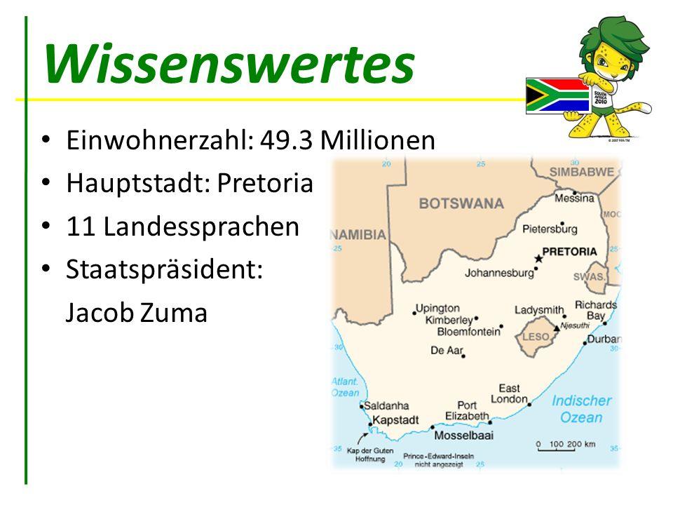 Wissenswertes Einwohnerzahl: 49.3 Millionen Hauptstadt: Pretoria 11 Landessprachen Staatspräsident: Jacob Zuma
