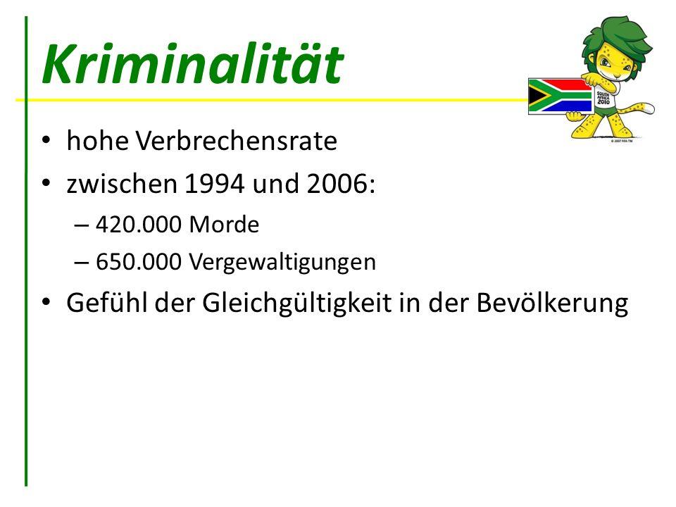 Kriminalität hohe Verbrechensrate zwischen 1994 und 2006: – 420.000 Morde – 650.000 Vergewaltigungen Gefühl der Gleichgültigkeit in der Bevölkerung