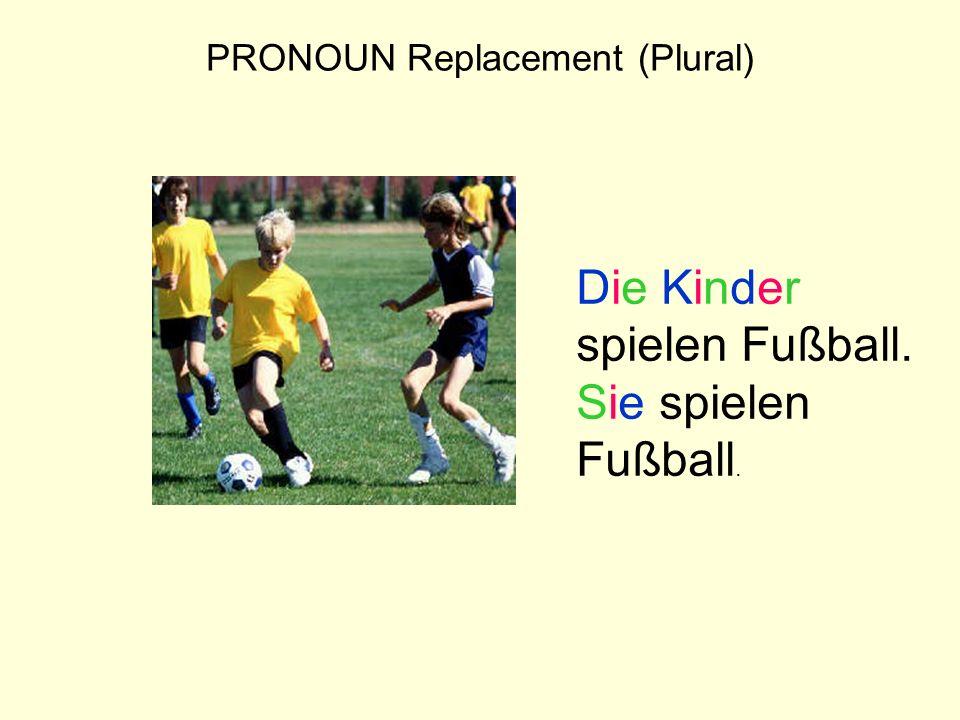 PRONOUN Replacement (Plural) Die Kinder spielen Fußball. Sie spielen Fußball.