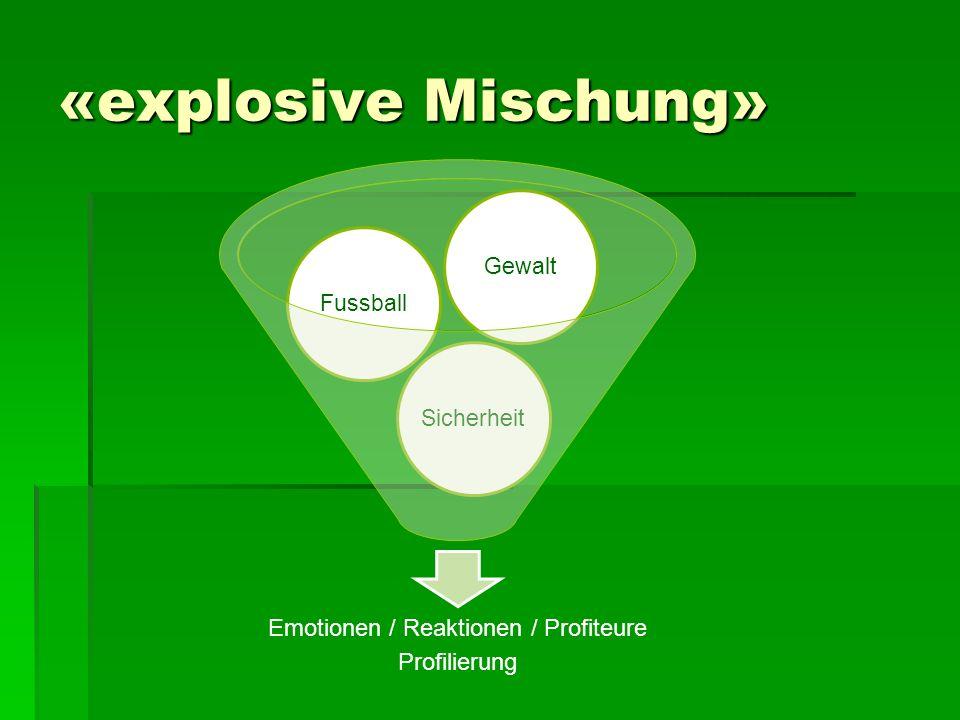 «explosive Mischung» Emotionen / Reaktionen / Profiteure Profilierung SicherheitFussballGewalt
