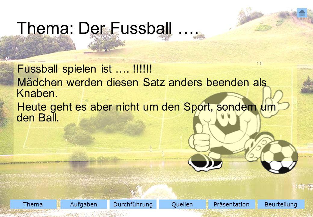 ThemaAufgabenQuellenDurchführungBeurteilungPräsentation Fussball spielen ist …. !!!!!! Mädchen werden diesen Satz anders beenden als Knaben. Heute geh