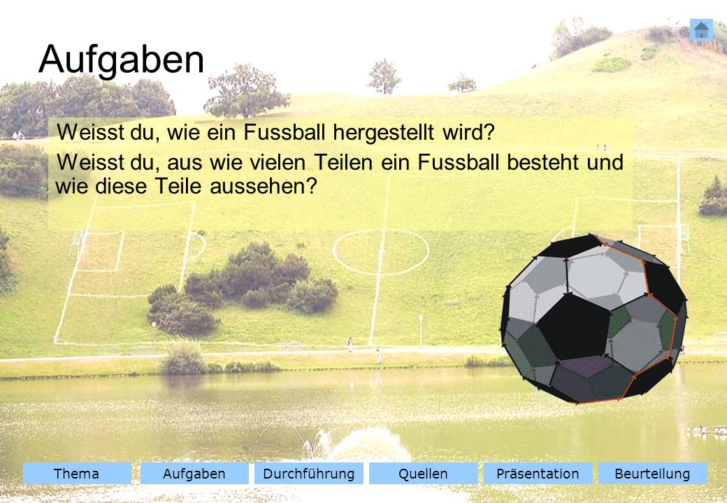 ThemaAufgabenQuellenDurchführungBeurteilungPräsentation Aufgaben Weisst du, wie ein Fussball hergestellt wird? Weisst du, aus wie vielen Teilen ein Fu